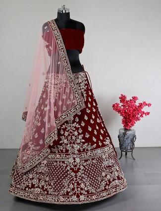 Maroon velvet wedding wear unstitched lehenga choli