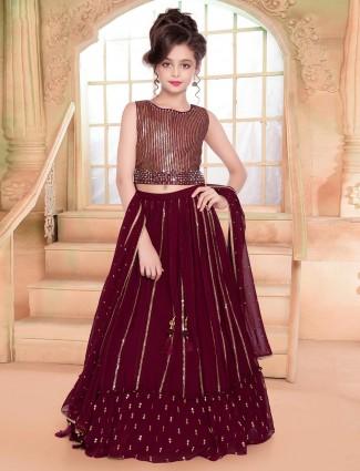 Maroon wedding designer girls lehenga choli