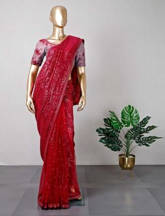 Maroon wedding net saree for women