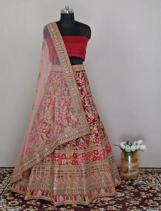Maroon wedding occasions unstitched raw silk lehenga