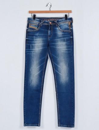 MD Sword washed dark blue mens jeans