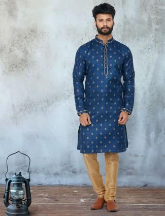 Mens cotton cotton kurta suits in navy for festive