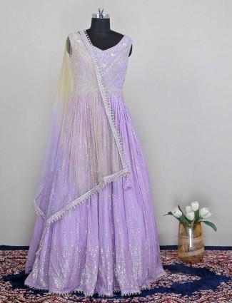 Mesmerizing wedding wear gown in purple shade