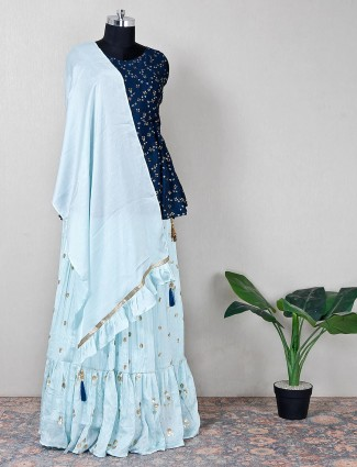 Midnight blue lehenga style suit in silk with sequins details
