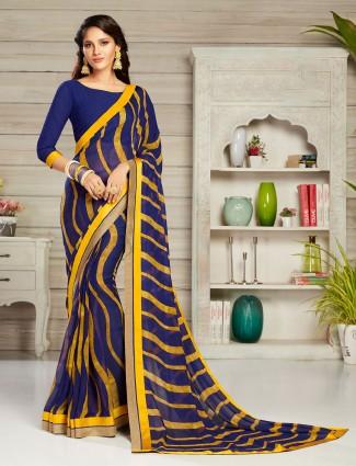 Midnight blue printed georgette sari