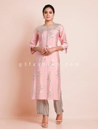Mind blowing baby pink cotton punjabi style palazzo suit