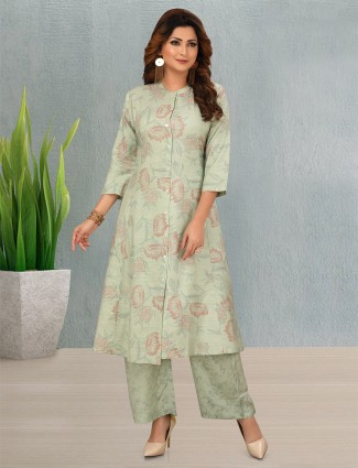 Mint green cotton printed punjabi style palazzo suit for casual
