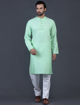 Mint green cotton stand collar kurta suit