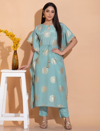 Mint green festive functions cotton silk punjabi kaftan style pant suit