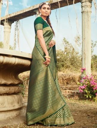 Mint green wedding occasions banarasi silk saree