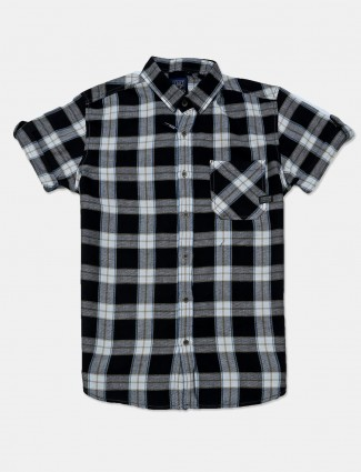 Mufti black checks cotton mens shirt
