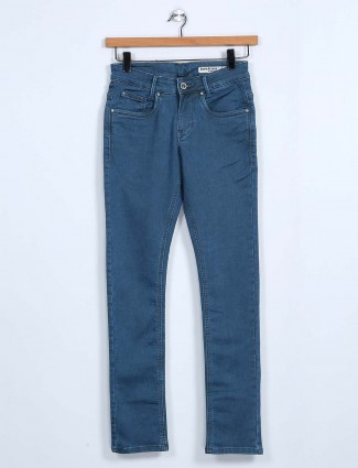 Mufti blue slim fit solid jeans