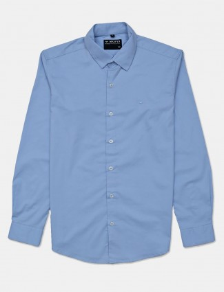 Mufti blue solid shirt in cotton