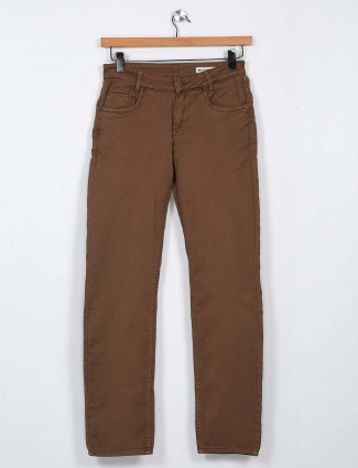 Mufti brown solid cotton trouser