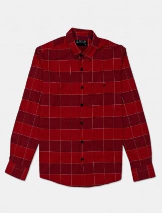 Mufti checks red cotton shirt