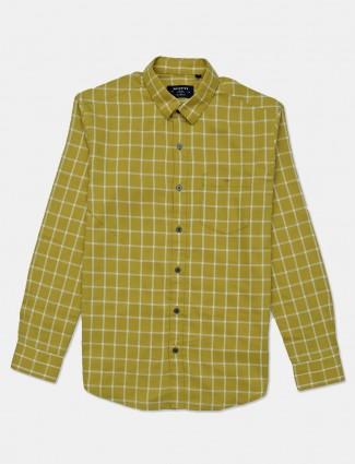 Mufti mustard yellow checks mens shirt