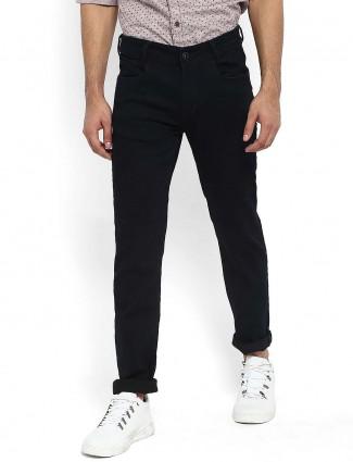 Mufti navy hue four pocket pattern jeans