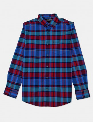 Mufti red checks cotton mens shirt