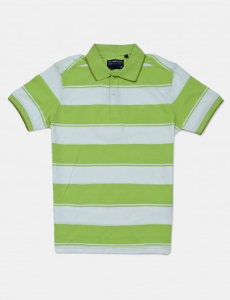 Mufti slim fit white and green stripe polo t-shirt