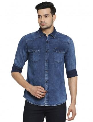 Mufti solid blue denim shirt for mens