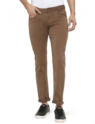 Mufti solid brown slim fit mens jeans