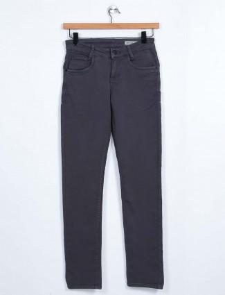 Mufti solid dark grey slim fit mens jeans