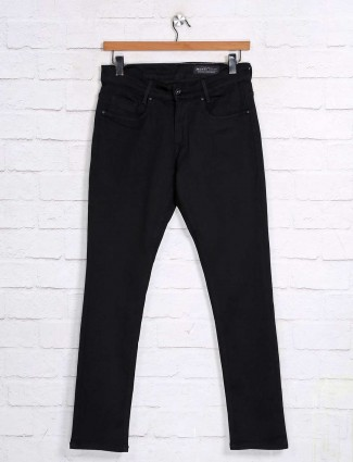 Mufti solid jet black mens denim jeans