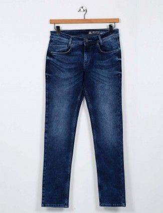 Mufti washed dark blue slim fit jeans