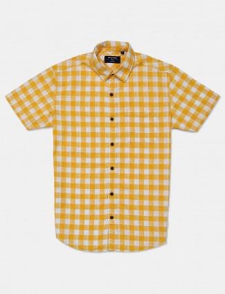 Mufti yellow checks cotton mens shirt