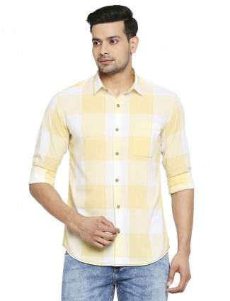 Mufti yellow checks pattern shirt in cotton
