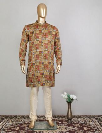 Mulit colored cotton festive wear kurta suit for mens