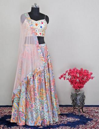 Multi color gorgeous wedding silk lehenga choli