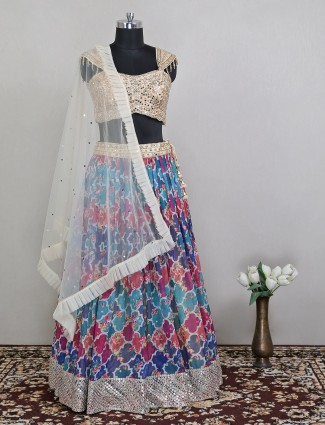 Multi color raw silk wedding lehenga for wedding sessions