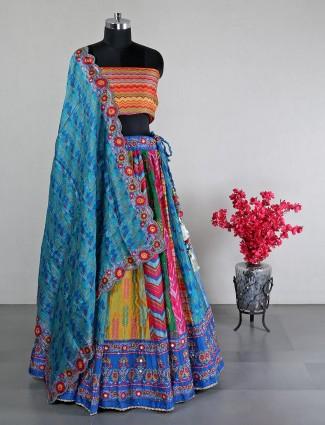 multi color unstitched lehenga choli for wedding