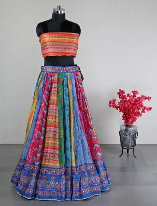 Multi color unstitched silk wedding wear lehenga silk
