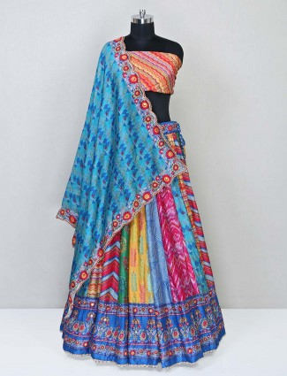 Multi colored designer raw silk lehenga choli for wedding