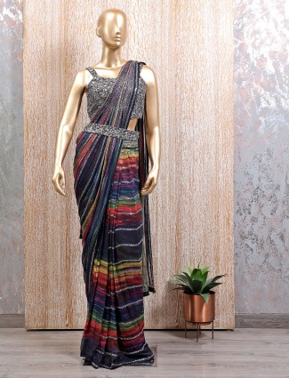 Multi colour wedding wear ready to wear saree with ready made blouse