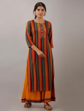 Honey yellow cotton punjabi style stripe festive wear palazzo suit