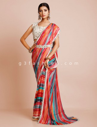 Multi georgette wedding wear saree with ready made blouse