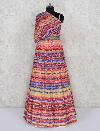 Multicolor floor length anarkali suit for party