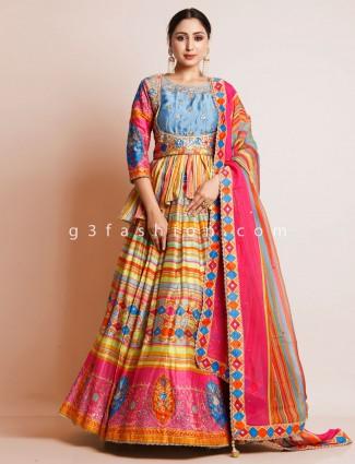 Multicolor wedding wear peplum style lehenga choli