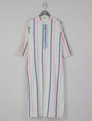 Multicolour stripe style casual wear cotton kurti
