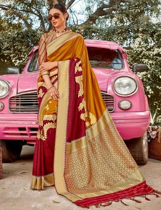 mustard and maroon half n half semi silk saree for wedding occasions