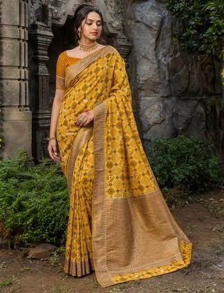 Mustard color beautiful silk wedding wear saree