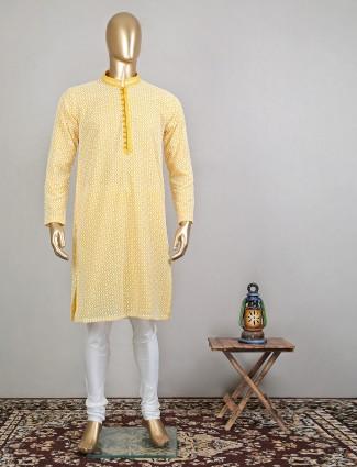 Mustard cotton festive wear kurta suit