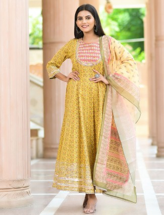 Mustard cotton festive wear printed punjabi style pant suit