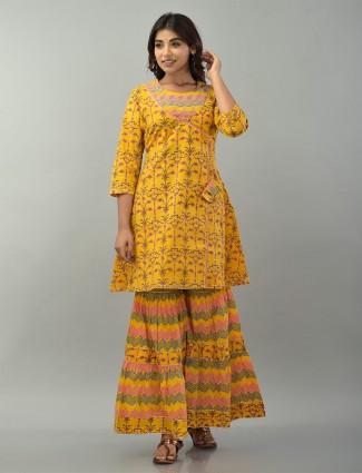 Mustard cotton festive wear printed punjabi style sharara suit