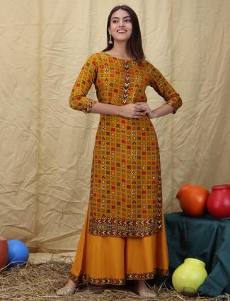 Mustard fabulous cotton festive sessions punjabi style palazzo suit