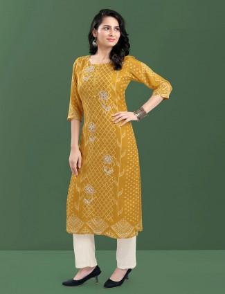 Mustard festive occasions kurti in cotton