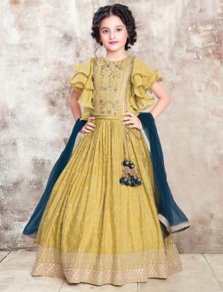 Mustard georgette lehenga choli for girls